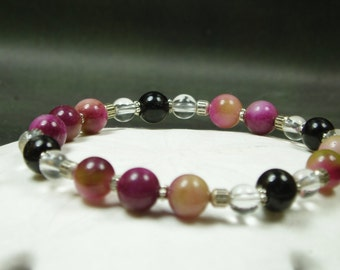 Purple Jade, Black Onyx, Natural Crystal Statment Bracelet, purple green black silver bracelet
