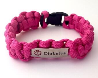 Pink Paracord Diabetes Medical Alert Bracelet