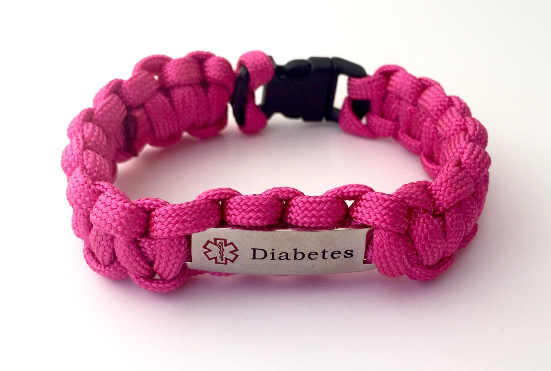 pink paracord diabetes alert bracelet