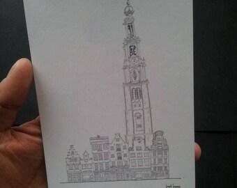 Prinsengracht & Westerkerk Postcard