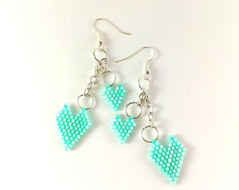 Mint green earrings Beaded earrings Mint earrings Seed bead earrings Small hearts gift Mint jewelry Mint wedding Valentines Day gift for