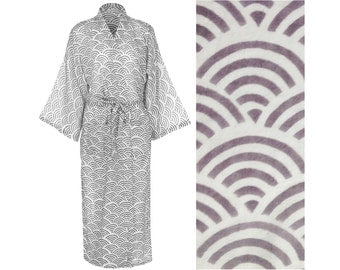 Women's Light Cotton Kimono Robe - Hand Printed Fabric Cotton Dressing Gown for Women - Gray Fabric Gown - Grey Robe - Light Cotton Bathrobe