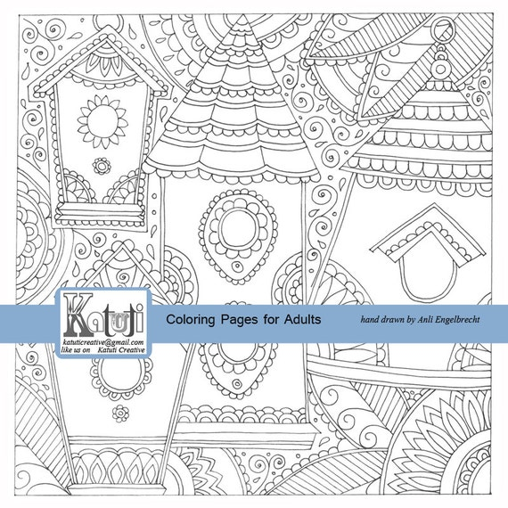 Coloring Pages For Adults Bird Houses Instant Download Hand