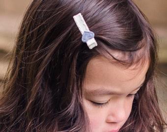 Gray Felt Heart Hair Clip Barrette
