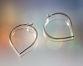 Hammered Sterling Silver Minimalist Hoop Earrings