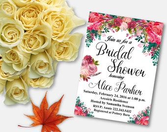 Bridal Shower Invitation - Bridal Shower Printable - Floral Bridal Shower - Flowers Invitation
