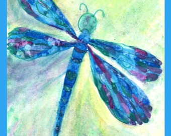 Framed Print: Dragonfly in Watercolors
