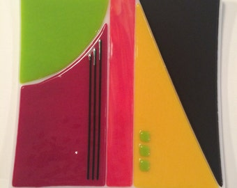 """8"""" x 8"""" Fused Glass Sushi plate"""