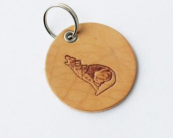 Leather Keyring Keychain Key fob - Handmade in USA ..... WOLF