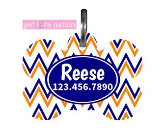 Personalized Pet Tag, Dog Tag, ID Tag, Chevron Pet Tag With Name And Number