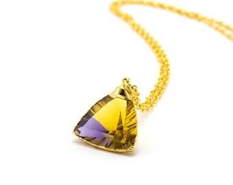 Gold Citrine Pendant/ Triangle Citrine Pendant/ Citrine Necklace/ Citrine Jewelry