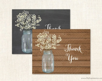 Baby's Breath Mason Jar Thank You Cards - Rustic Country Bridal Shower Thank You Cards - Set of 24 with envelopes