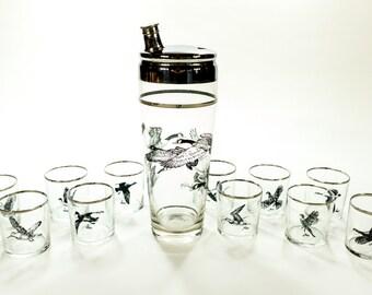 Vintage Glasses Richard E. Bishop Game Birds Platinum Shot Glasses and Shaker