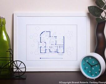 Jill and Tim Taylor Home Improvement Floor Plan - Famous TV Show Floor Plan - Blueprint Art - NBC Today Show featured artist!