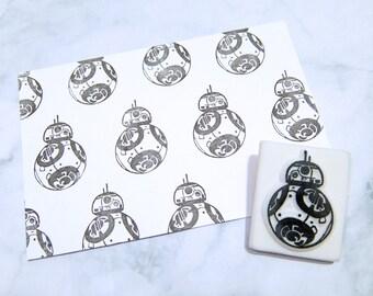 BB-8 Driod Handcarved Rubber Stamp / Star Wars /