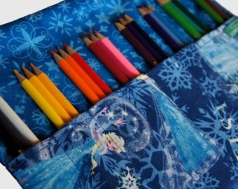 Pencil Roll Frozen Elsa fabric, Frozen Gift, Elsa Gift, Pen Roll, Roll Up Pencil case