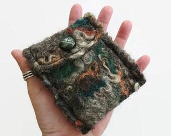 woolen handpurse, felted pouch bag, purse with button, change purse, felted purse, felted pouch, woolen wallet, wallet with button, pouch