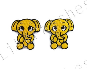 Set 2 pcs. Yellow Cute Baby Elephant Cartoon New Sew on / Iron On Patch Embroidered Applique Size 3.5cm.x3.7cm.