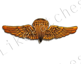 Orange Yellow Wings - New Sew / Iron On Patch Embroidered Applique Size 12.5cm.x3.9cm.