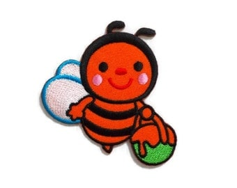 Happy Bee Orange Color with Honey New Sew / Iron On Patch Embroidered Applique Size 6.8cm.x6.8cm.