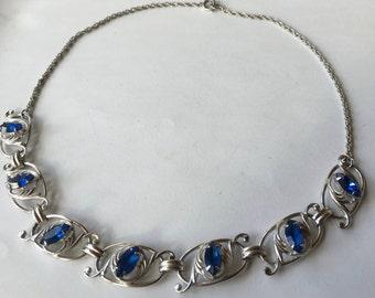 Art Deco Bond Boyd Sterling Silver Blue Rhinestone Necklace
