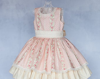 Vintage Inspired Couture Girls Dress, Special Occasion Dress, Birthday Dress