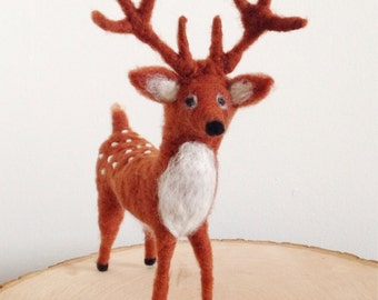 Needle Felt Deer, Woodland Sculpture, Fawn Decor, The Felted Fawn