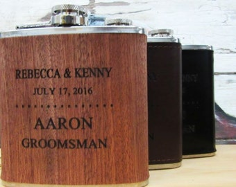 Wedding Party Favor - Personalized Leather Flask, Personalized Wood Wrapped Flask