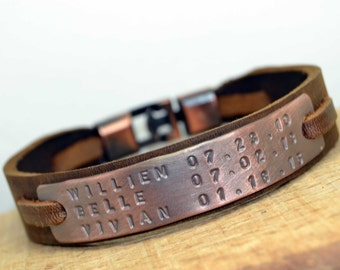 Mens Personalized Leather Bracelet,Personalized Mens Leather Bracelet,Dad gift,Fathers Day gift,Husband gift,ID Bracelet,Valentines Day Gift