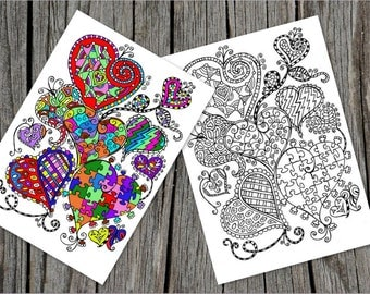 Hearts Coloring Page, Zentangle Inspired, Romantic Heart Coloring Page For Adults, Printable Spring Coloring, No Stress Activity, Lovers Da