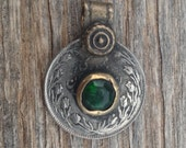 Vintage Kuchi Coin Pendant with Green Glass from Afghanistan - 25 mm - 1 Inch