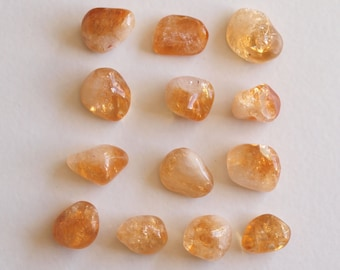 Brazilian Citrine Tumbled Gemstone - Tumbled Stone - Polished Stone, 13 pieces