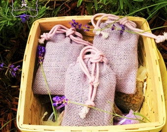 3 Rustic lavender colored Jute/Burlap sachet, 3 x 5 size. Filled with organic lavender. Wedding & shower favors, party favors. Wedding toss.
