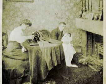 Antique unused British postcard Matrimonial Bliss real photograph postcard sepia black and white 1899 Victorian 19th century