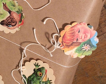 6 Gift Tags Handmade from Vintage Children's Book Illustrations and Lined Paper – Retro hangtags for gift wrapping or decorating