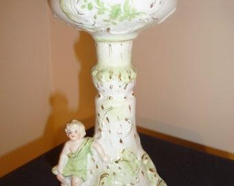 Antique cherub porcelain oil lamp The P&A MFG Co Victor - circa 1880