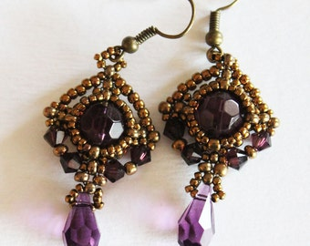 Art nouveau earrings with amethyst cristals swarovski