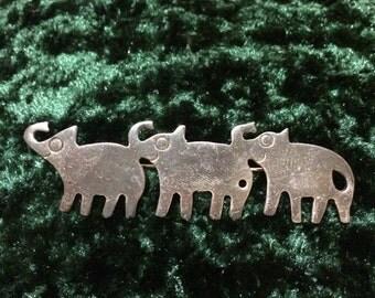 Elephant Bar Pin Brooch Mexico 925  Very Cute (#2)