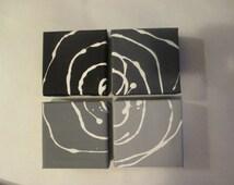 Abstract Canvas Art - Black and Shades of Gray