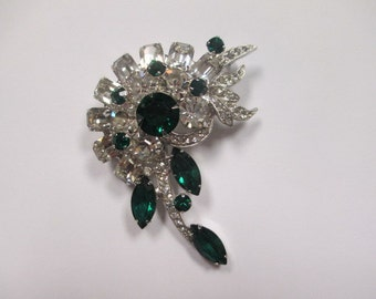 1940s or 50s Signed Einsenberg Ice Emerald Green and Clear Brooch