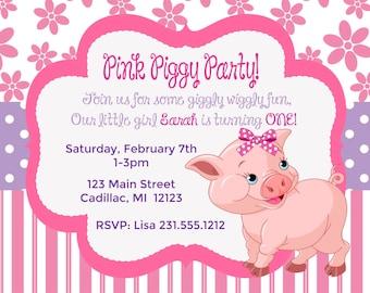 pig birthday card  etsy, Birthday card