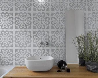 TANGIER Tile Stencil - Mediterranean Spanish Moorish Moroccan Victorian Wall Furniture Floor Craft Stencil - TA001