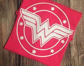 Wonder Woman Superhero Logo T Shirt Adult and Childrens Sizes Available