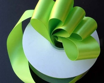7/8 inch x 100 yards of Apple Green Double Face Satin Ribbon - shines on both sides