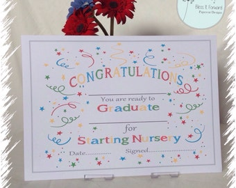 Starting Nursery /School Certificate  - Fill In your own