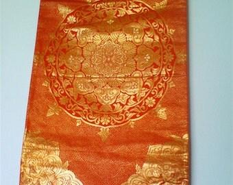 Orange Red Vermillion Gold Mandala Same-komon Vintage Japanese Kimono Silk Obi