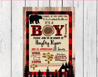 Lumberjack Baby Shower Invite-***Digital File***  (Baby-Lumber)