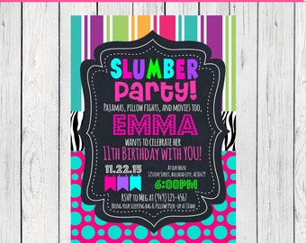 Slumber Party Personalized birthday invitation- ***Digital File*** (Slumber-stripe)