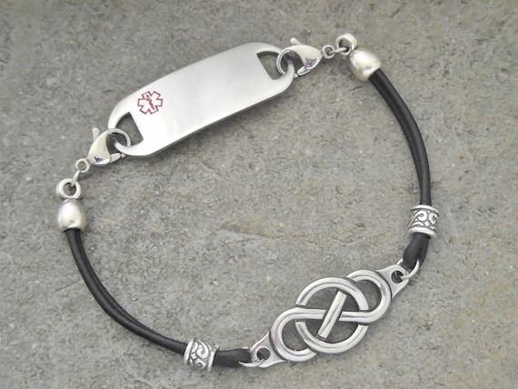 id bracelet allergy bracelet leather id bracelet