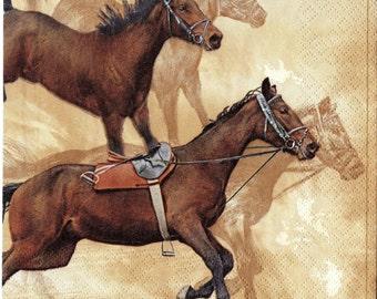 "6 Decoupage Paper Napkins Animals. Horses. 33x33 cm. 13""x13"" set of 6 pcs. Napkins"